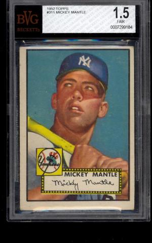 Image of: 1952 Topps Mickey Mantle #311 BVG 1.5 FAIR+ (PWCC)