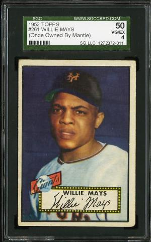 Image of: 1952 Topps Willie Mays OWNED BY MICKEY MANTLE #261 SGC 4 VGEX (PWCC)