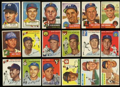 Image of: Lot(39) 1952-59 Topps w/ Rosen Collins Bauer Mathews Mantle Robinson, EX (PWCC)