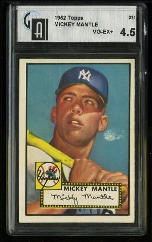 Image of: 1952 Topps Mickey Mantle #311 GAI 4.5 VGEX+ (PWCC)
