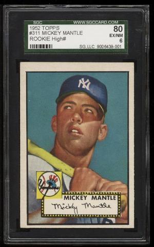 Image of: 1952 Topps SETBREAK Mickey Mantle ROOKIE RC #311 SGC 6/80 EXMT (PWCC)