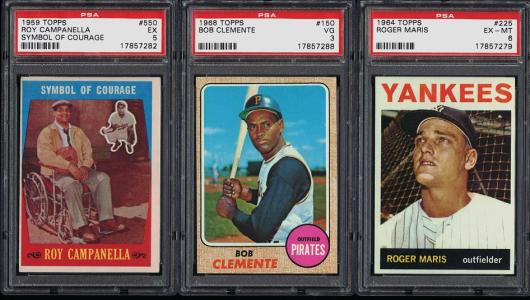 Image of: Lot(25) 1952-72 Topps Mantle Mays Clemente w/PSA, EX