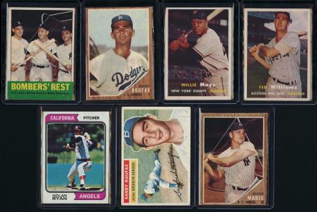 Image of: Lot(66) 1952-76 Topps Stars w/ Mantle Mays Koufax Ryan