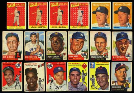 Image of: Lot(180) 1952-58 Topps Stars Mickey Mantle Mays Aaron Berra Ford, VG (PWCC)