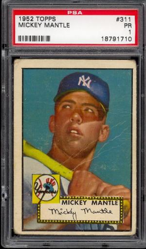 Image of: 1952 Topps Mickey Mantle #311 PSA 1 POOR (PWCC)