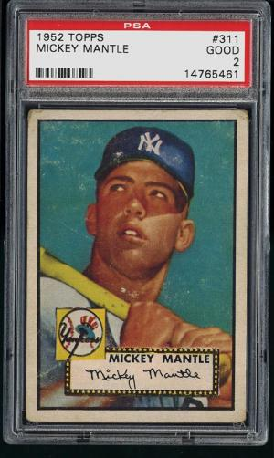 Image of: 1952 Topps Mickey Mantle #311 PSA 2 GOOD