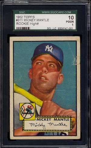Image of: 1952 Topps Mickey Mantle #311 SGC 1 POOR