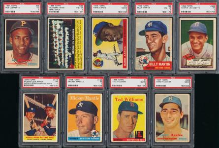 Image of: Lot(9) 1952-58 Topps Stars w/ Mantle Mays Clemente Koufax, ALL PSA GD/VG (PWCC)