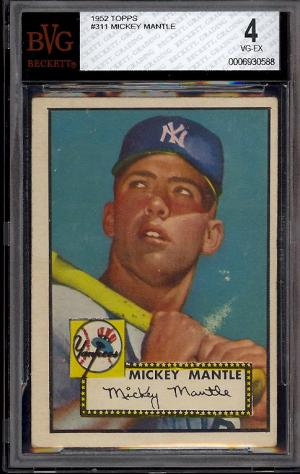 Image of: 1952 Topps Mickey Mantle #311 BVG 4 VGEX (PWCC)