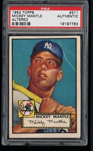 Image of: (PWCC) 1952 Topps Mickey Mantle #311 PSA Auth (Altered), VGEX