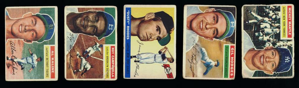 Image of: (PWCC) Lot(130) 1952-56 Topps w/ Mantle Campanella, PR to VGEX