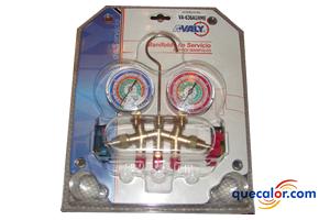 Manifold Para Refrigeracion Y Aire Acondicionado AVALY Modelo VA-636GH-ME, Cuerpo Angular, Manometros Con Proteccion De Hule Con Escala Para Refrigerantes R410a, R404A, R22 Y R507a.  Mangueras De 36