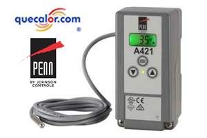 Termostato NEMA 4X Johnson Controls A421AEC-02C Con Control Electronico De Temperatura Con Pantalla Y Sensor 120/240 Vac. ( Antes A419ABC-1C )