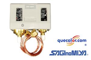Interruptor De Alta Y Baja Presion Saginomiya Con Restablecimiento Manual Lado Alta DNS-D306MS1,  Rango Baja -50cmHg A 6 Kg/cm2, Dif 0.60 A 4.00, Rango Alta 8 A 30 Kg/cm2, Diferencial Aprox 4.00  Con Capilar