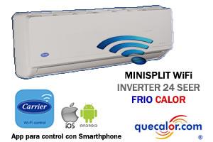 Minisplit Wifi Inverter CARRIER 1 TR, 24 SEER, Frio Y Calefaccion 53UTQ123A , Voltaje 220 Volts.