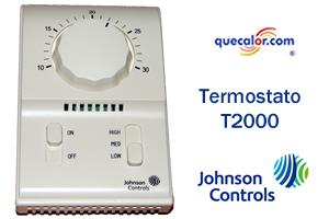Termostato Electromecanico Para Fan And Coil Johnson Controls T2000EAC-0C0 110/220 V, Solo Enfriamiento, Escala En Grados Centigrados.
