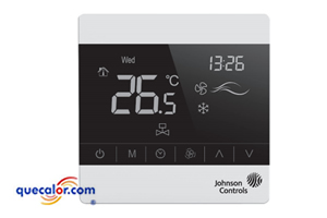Temostato Digital Touch Johnson Controls Para Fan And Coil. Enfriamiento O Calefaccion Modelo T8200-TB20-9JRO , opera a 110 Y 220 v. Sensor De Temperatura Remoto.