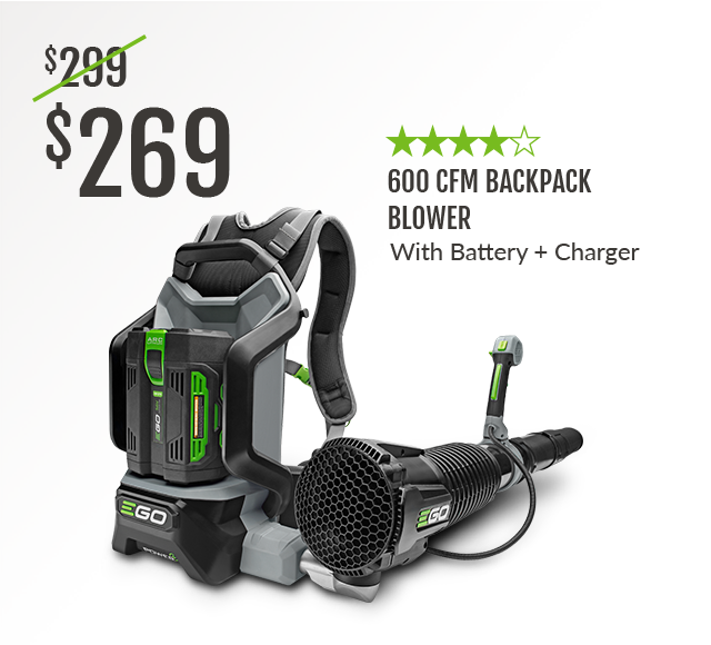 600 CFM Cordless Backpack Blower with Battery and Charger
