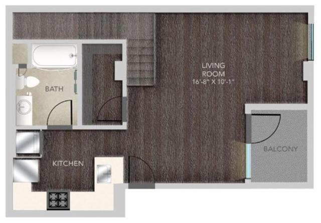 Gibson B101 Live/Work Studio Loft - LWL2 Floorplan, 772SQFT