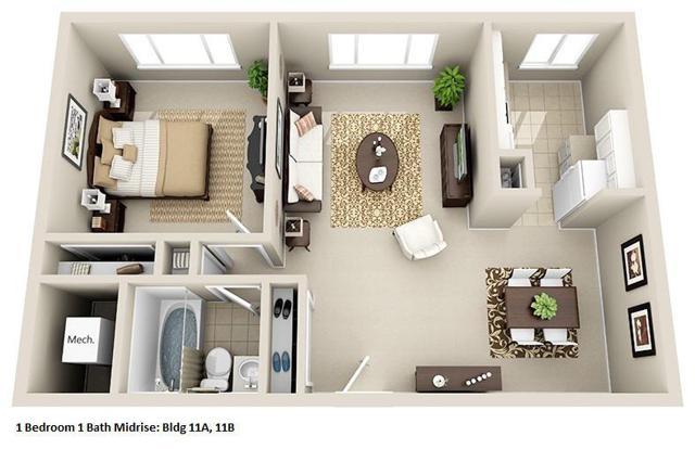 1 Bedroom, 1 Bathroom - Huntington House AB