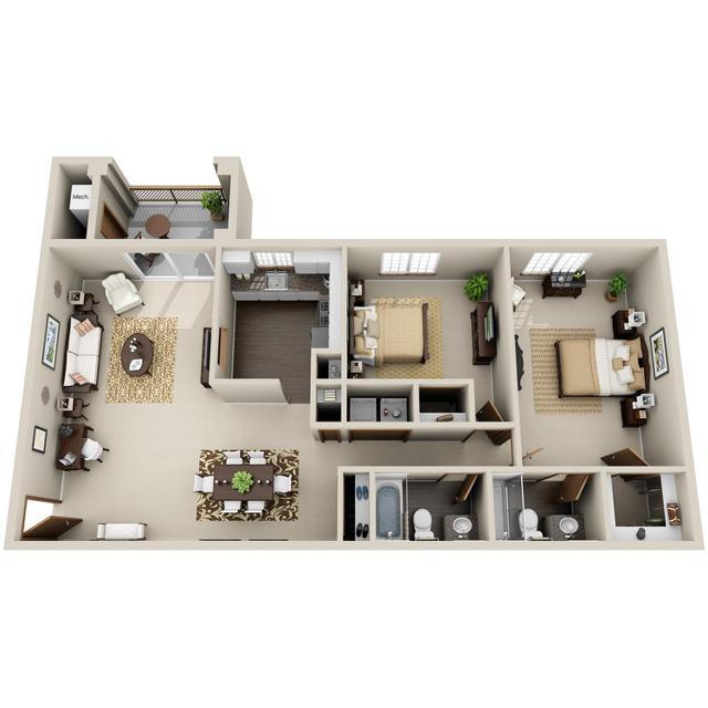 2 Bedroom, 2 Bathroom - Allendale