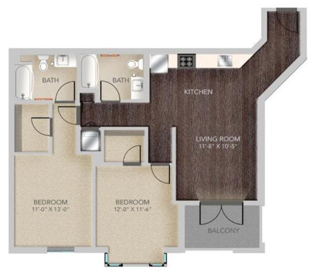 A513 – 2x2, B2 Floorplan, 964SQFT