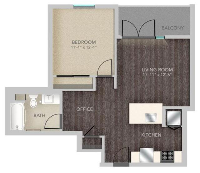 A206 - 1x1, A12 Floorplan, 645SQFT