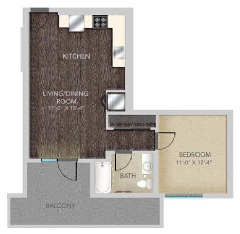 B411 – 1X1, A5 Floorplan, 625SQFT