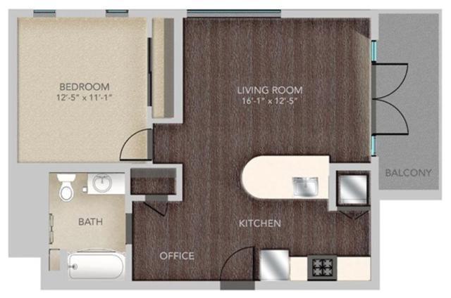 A501 - 1X1, A17 Floorplan, 672SQFT