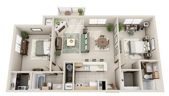 2 Bedroom, 2 Bathroom (E)