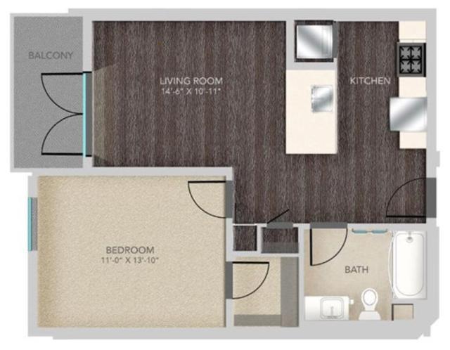 A212 1X1, A7 Floorplan, 626SQFT