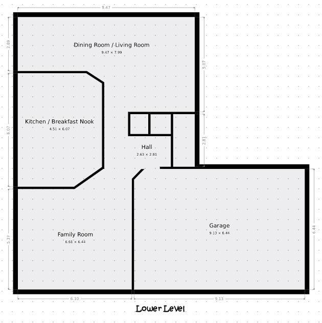 Lower level, measurements are not exact.
