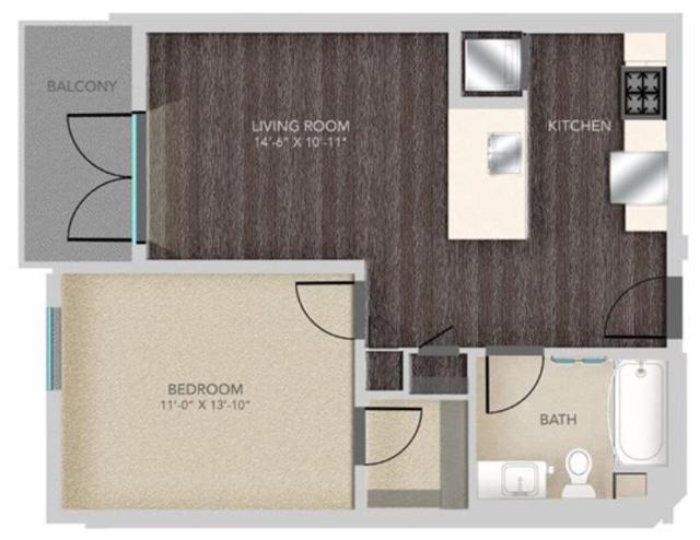A512 - 1X1, A7 Floorplan, 626SQFT