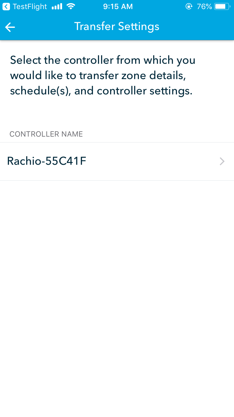 Transfer Settings on Rachio 3 - select controller