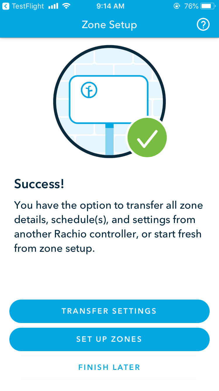 Transfer Settings on Rachio 3