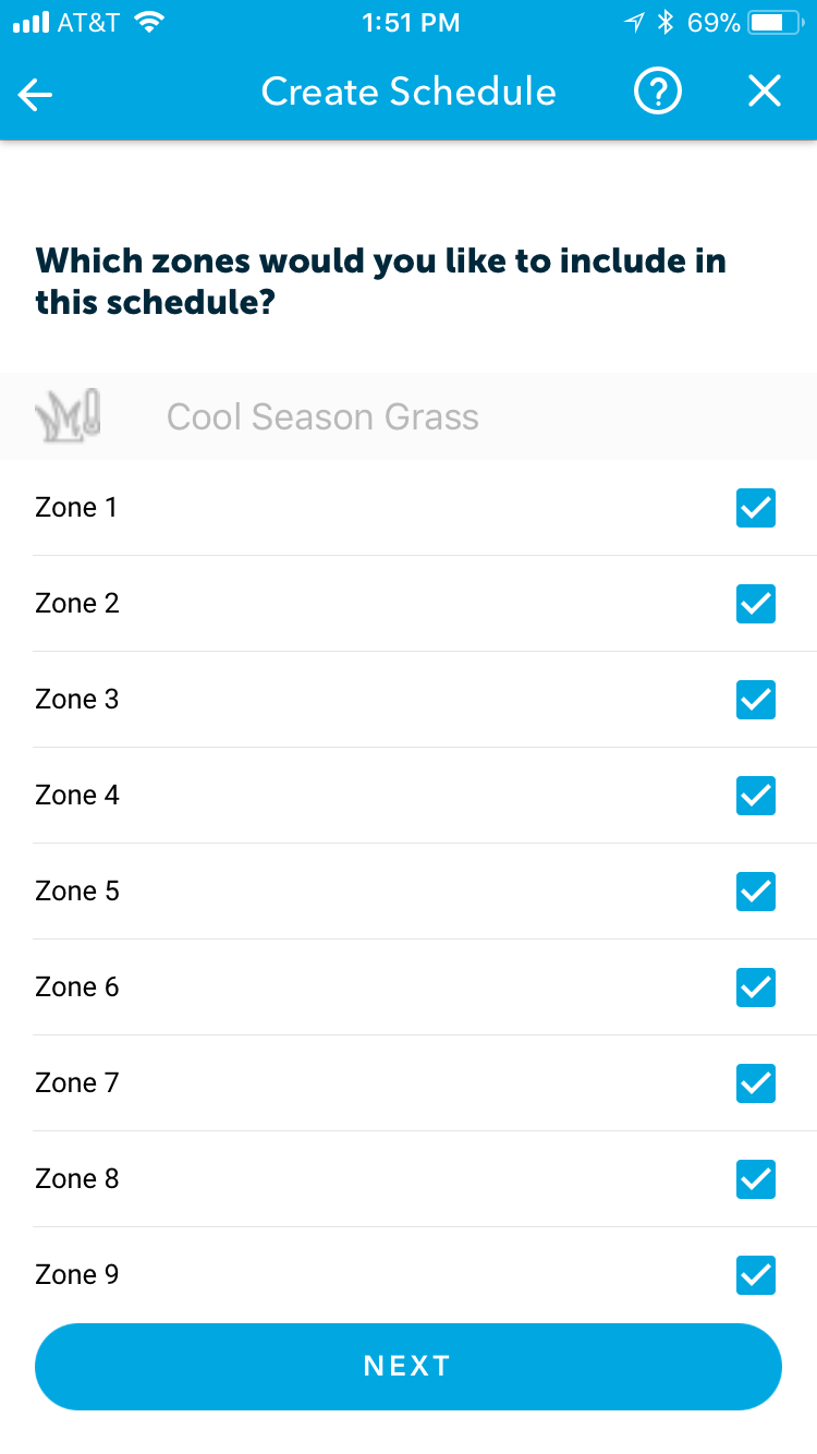 Which zones to include