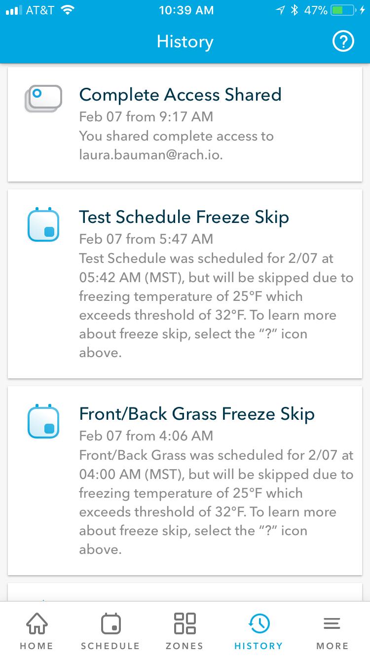 Rachio History Feed App Example