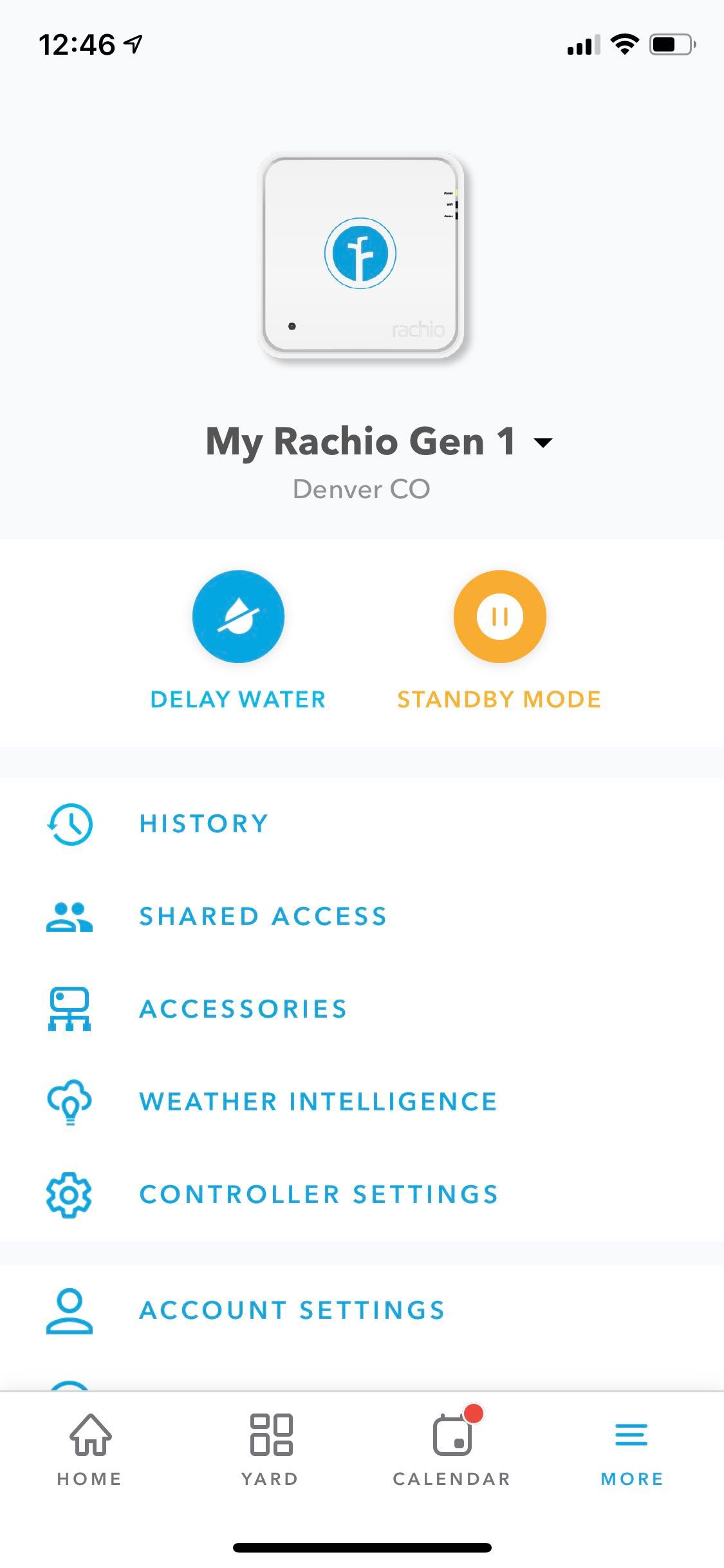 Rachio More tab with History feed and History events