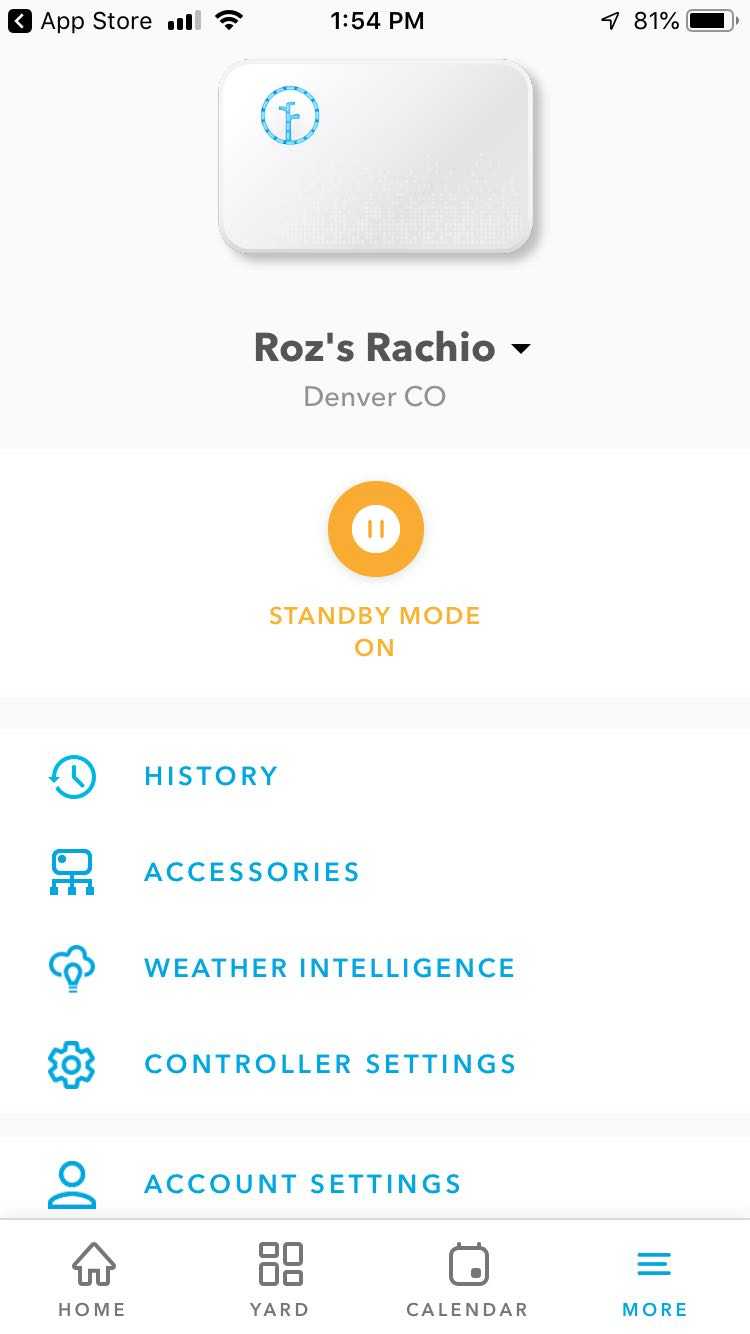 Rachio More tab with History feed