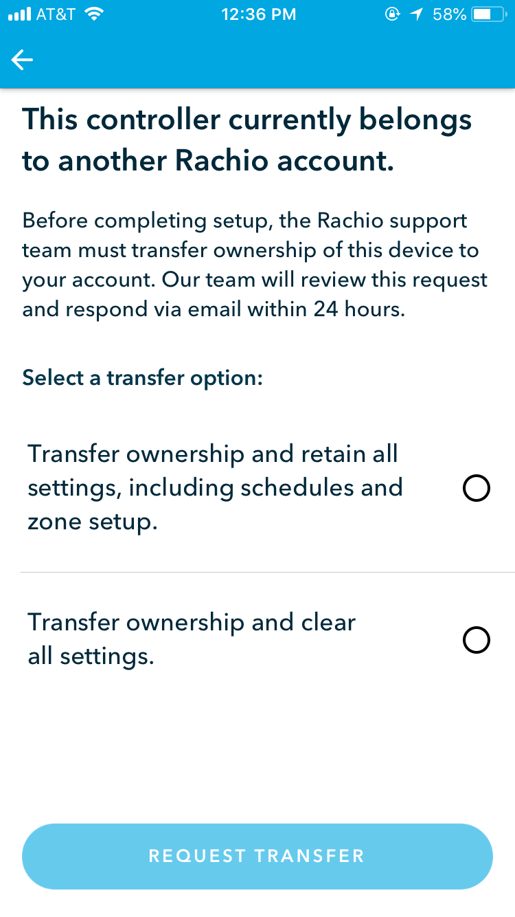 Rachio transfer ownership options