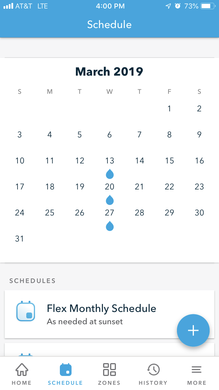 Seasonal Shift Schedule Example - watering 3 days in March
