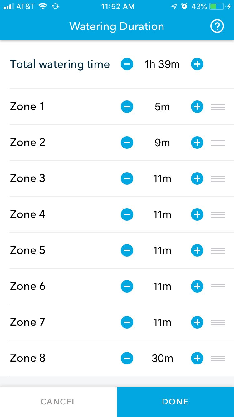 Edit zone duration or watering time