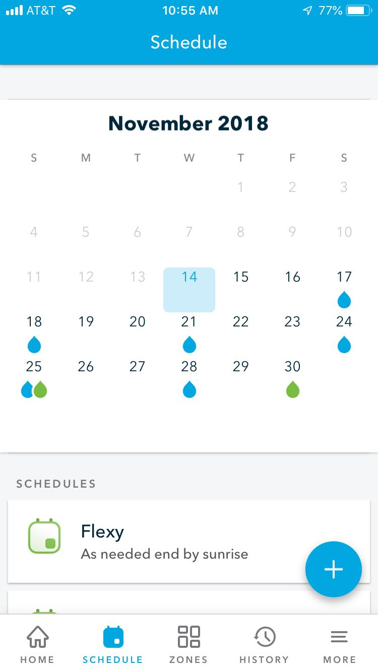 Rachio schedule month view