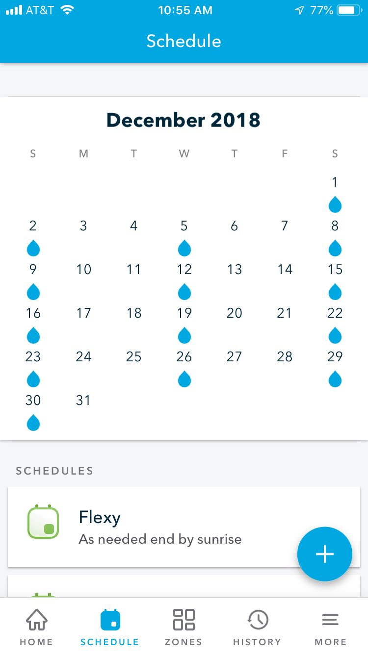 Rachio schedule next month