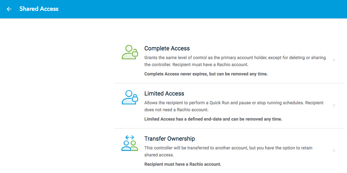 Rachio web app Shared Access types