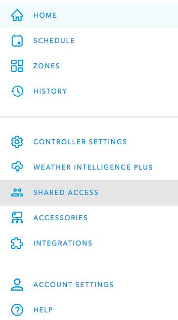 Rachio web app Shared Access