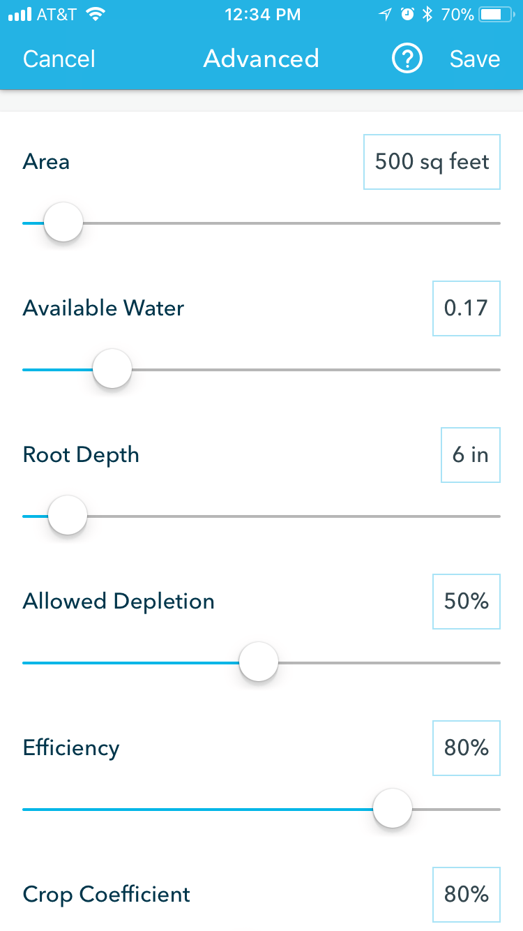 Rachio Advanced Zone Settings
