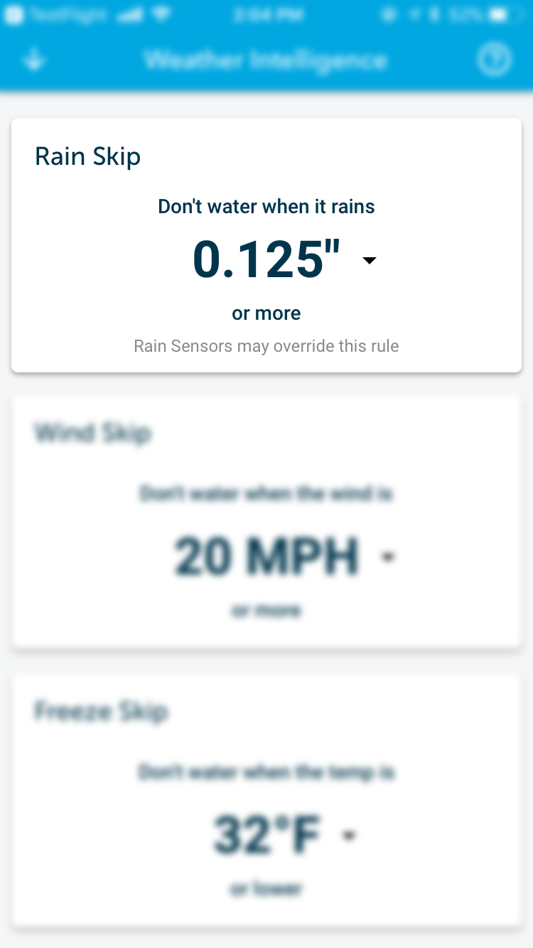 Rachio Weather Intelligence Rain Skip
