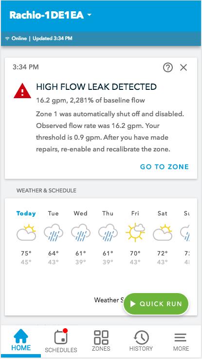 High flow leak detected