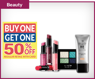 REVLON Cosmetics Buy One, Get One 50% OFF regular retail with card
